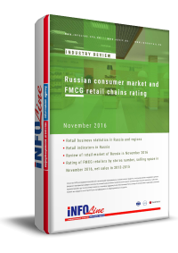 Russian consumer market and FMCG retail chains rating: November 2016
